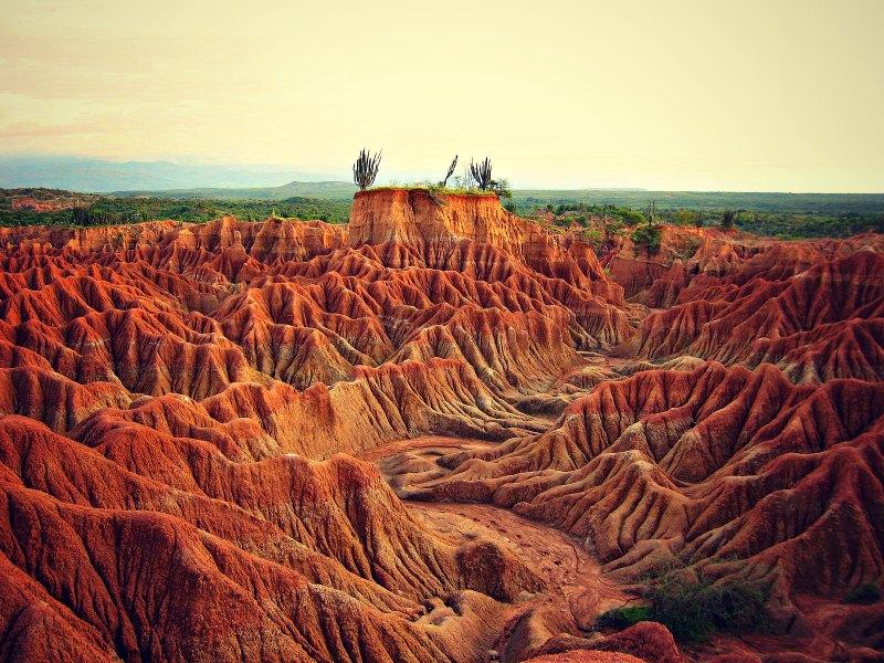 Rechtzeitig zum Sonnenuntergang in der Tatacoa-Wüste in Kolumbien