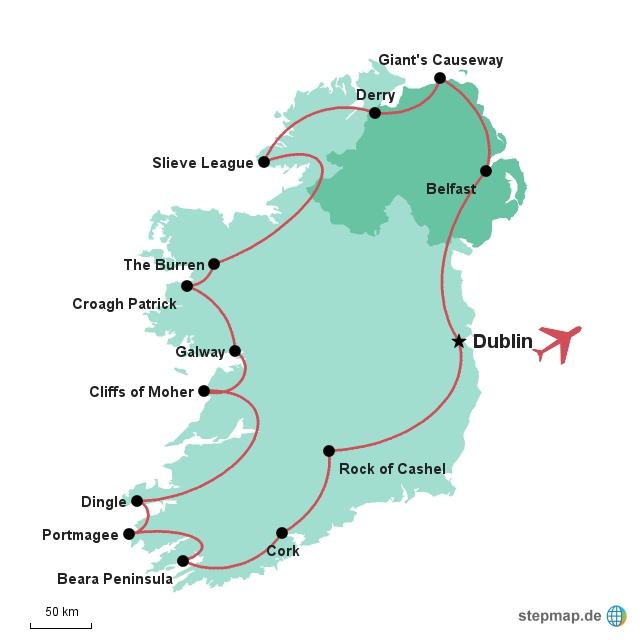 Landkarte Gruppenreise Irland