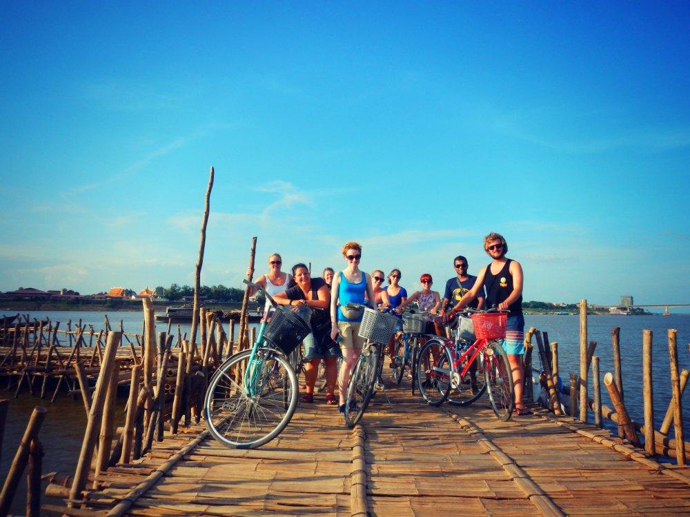 Über die Bambusbrücke in Kampong Cham