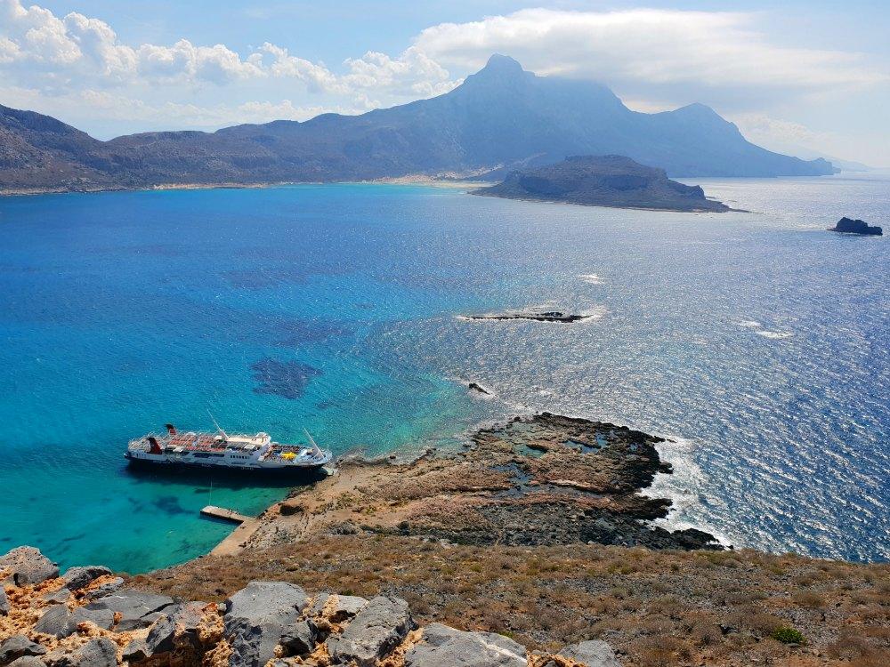 Blick von der Festung Gramvousa hinüber nach Balos