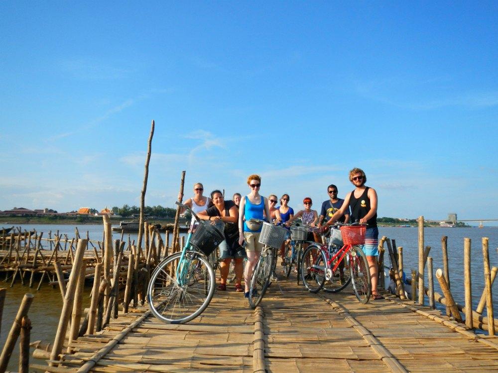 Gruppenreise in Kambodscha: Bambusbrücke von Kampong Cham