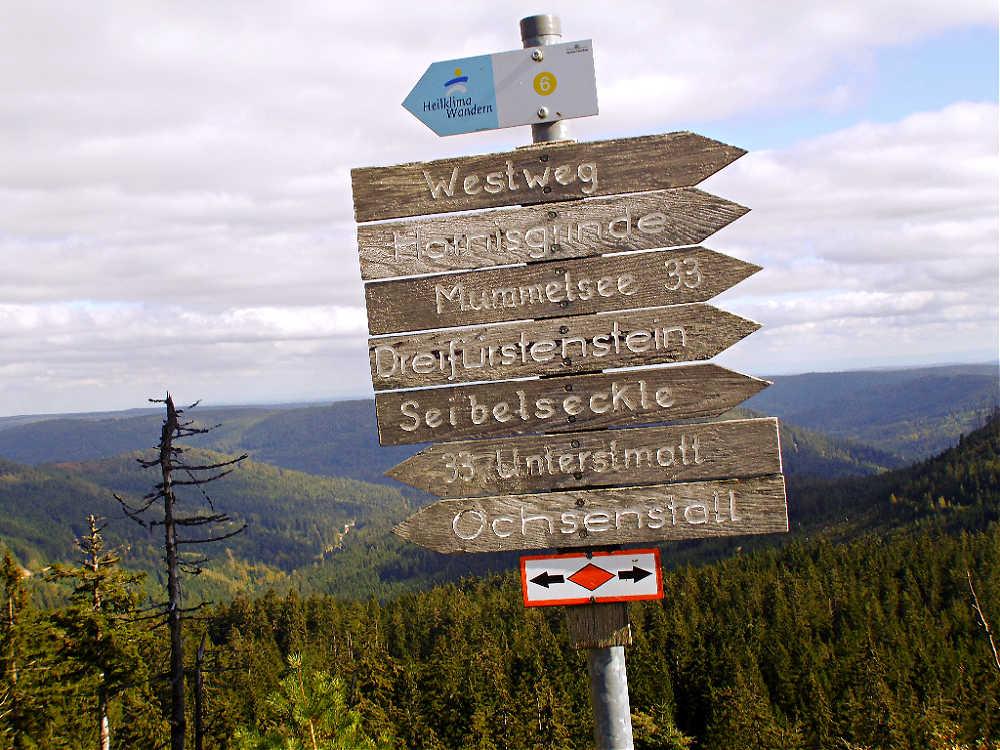 Wanderungen im Schwarzwald: Hinweisschild für Wanderer