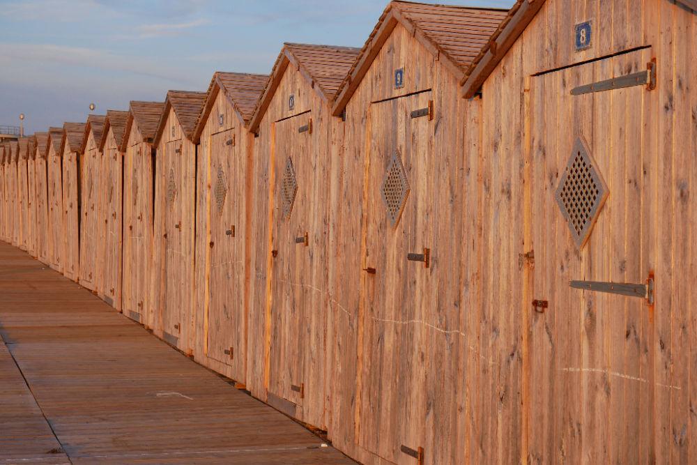 Badehäuschen am Strand von Dieppe
