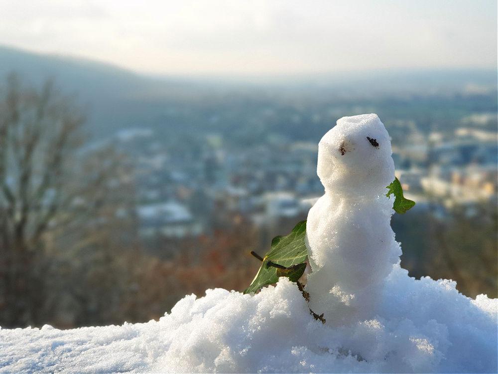 Auch der Mini-Schneemann hat eine tolle Aussicht über Ettlingen